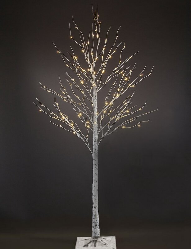 the holiday aisle 7u0027 white birch artificial christmas tree with 120 warm white leds and adjustable branches u0026 reviews wayfair