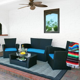 Sunnydaze Brisbane 4 Piece Rattan Patio Furniture Set Multiple Colour Options