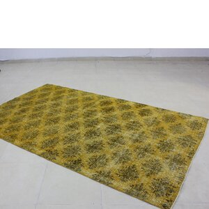 Vintage Hand-Knotted Gold/Green Area Rug