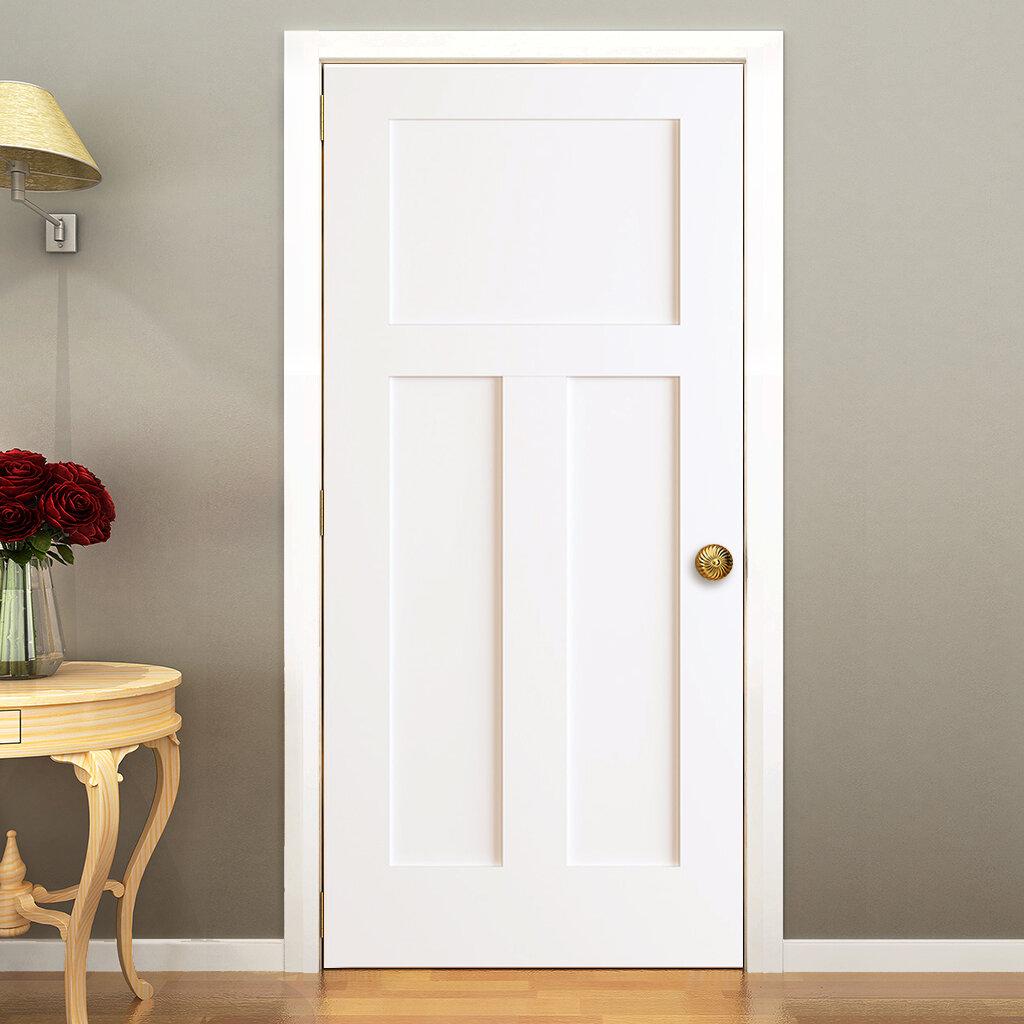 KIBY 3 Panels Shaker Solid Wood Panelled Slab Interior Door U0026 Reviews |  Wayfair