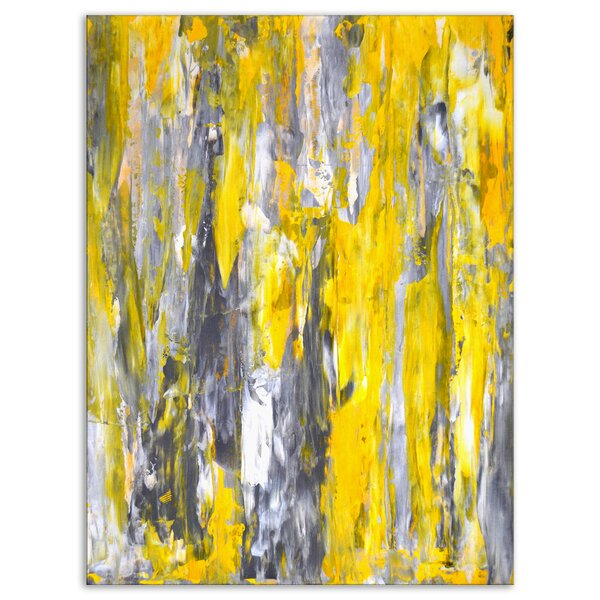 9bad3acc270 DesignArt Abstract 'Gray and Yellow Abstract' Painting   Reviews ...