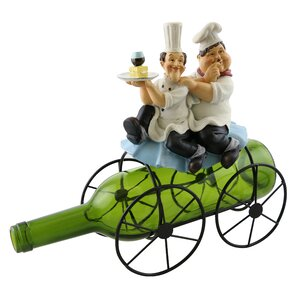 Fran Laurel and Hardy on Top of a 1 Bottle Tabletop Wine Rack by Fleur De Lis Living