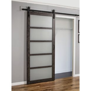 Interior doors youll love wayfair continental frosted glass 1 panel ironage laminate interior barn door planetlyrics