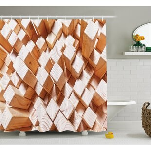 Geometric Natural Wood Rustic Shower Curtain