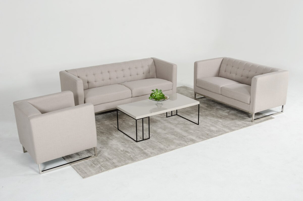 Wade Logan Alsatia 3 Piece Leather Living Room Set & Reviews | Wayfair