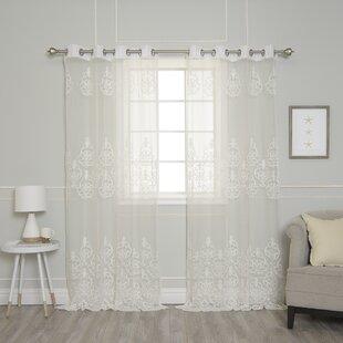 Pavel Toile Sheer Grommet Curtain Panels (Set Of 2)
