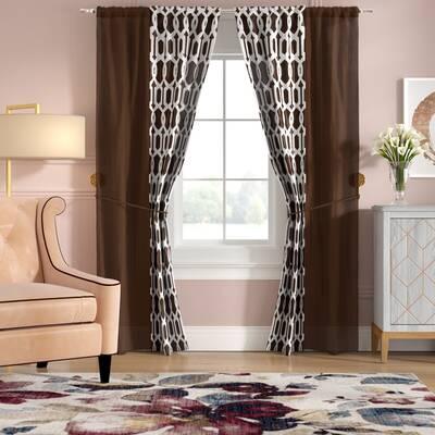 Landy Geometric Semi-Sheer 6 Piece Curtain Panel Set