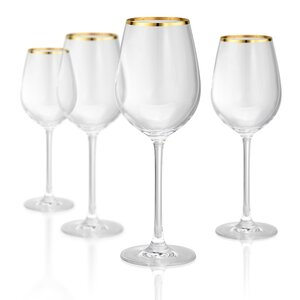 Gold Band White 15 oz Wine Glass, Set of 4 (Set of 4)