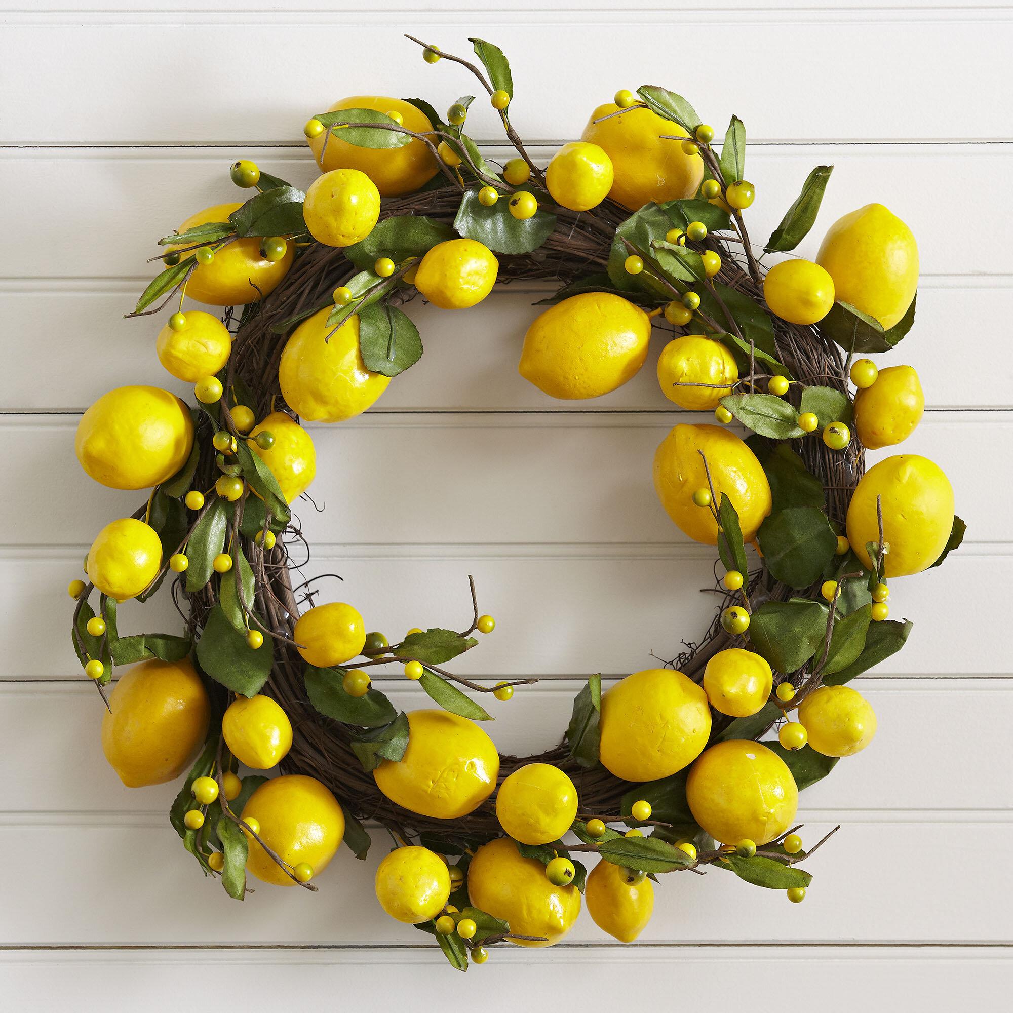Birch Lane™ Faux Lemon Wreath & Reviews   Birch Lane
