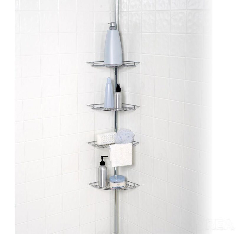 Sweet Home Collection 4 Tier Tension Pole Corner Shower Caddy ...