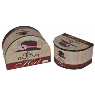 2 Piece Wooden Vintage Decorative Hat Storage Box Set