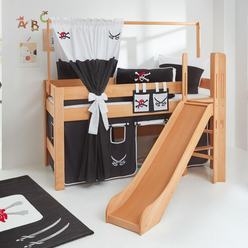 relita halbhochbett leo mit rutsche und ber eck gebauter leiter 90 x 200 cm. Black Bedroom Furniture Sets. Home Design Ideas