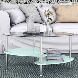 Hefner 38 Oval Two Tier Glass Coffee Table