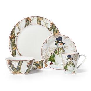 Mossy Oak Snowman 16 Piece Dinnerware Set Service for 4  sc 1 st  Wayfair & Snowman Dinnerware Sets | Wayfair