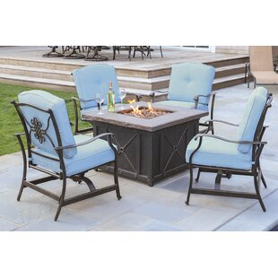 Rhonda 5 Piece Fire Pit Patio Set With 4 Cushioned Rockers In Blue And 40 000 Btu Propane Gas