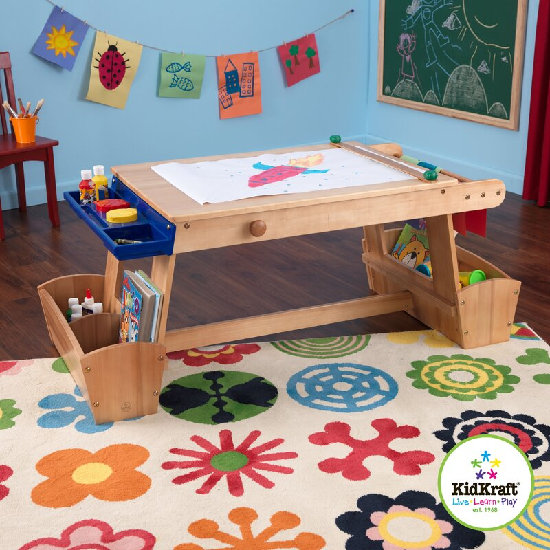 Awesome Drying Rack And Storage Kids Arts And Crafts Table