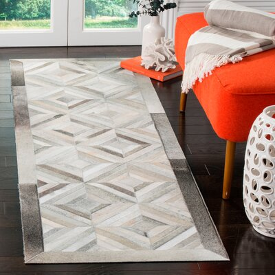 Brayden Studio Cartwright Handwoven Leather Gray Area Rug