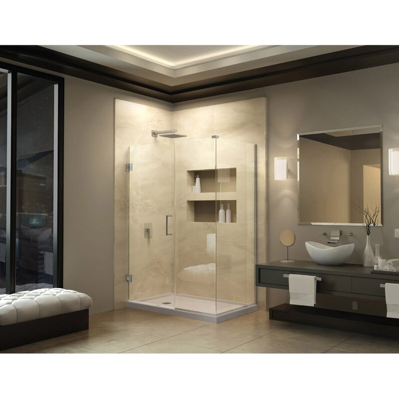 Unidoor Plus 59 5 W X 34 38 D Hinged Shower Enclosure