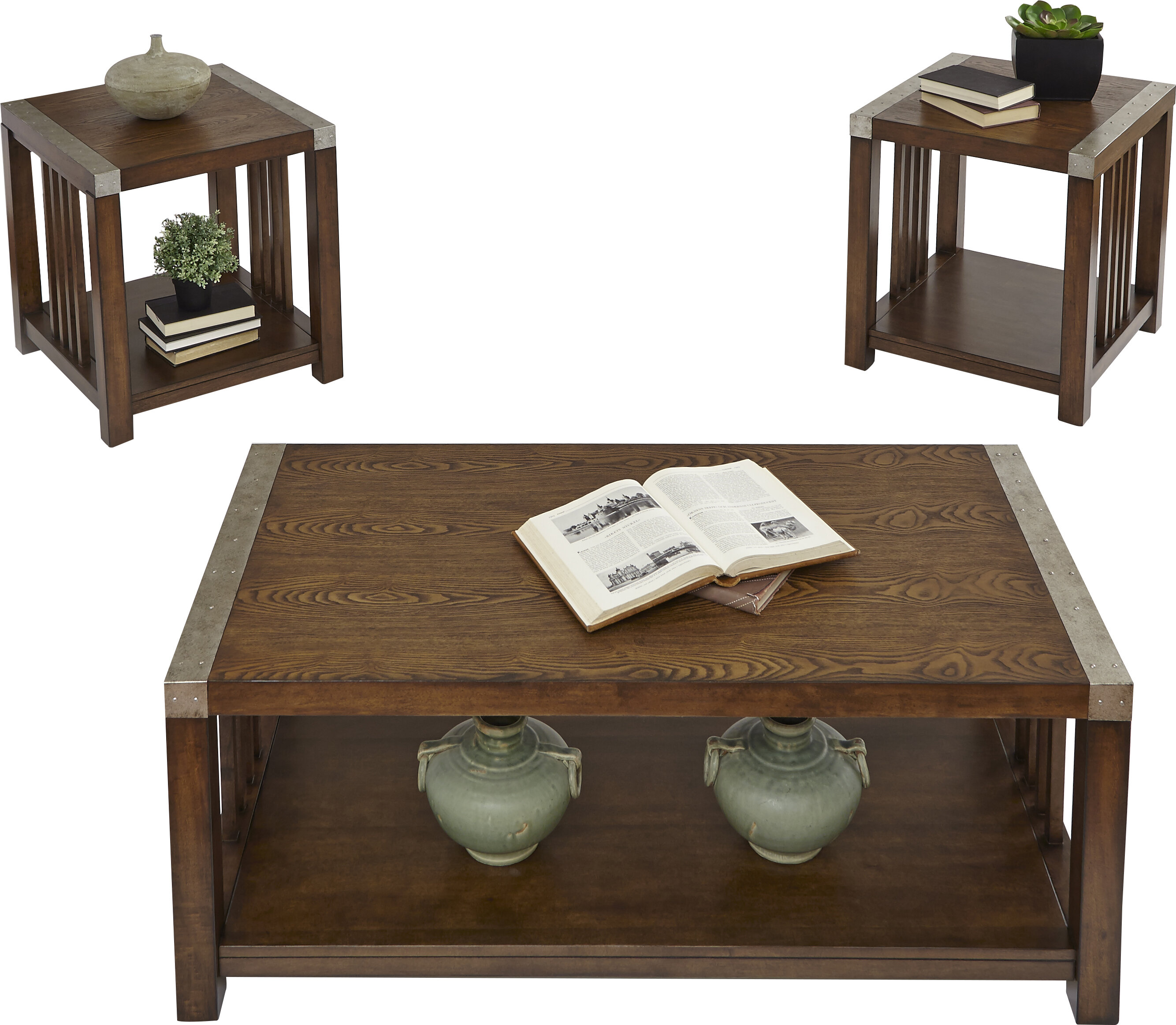 sc 1 st  Wayfair & Loon Peak Creede 3 Piece Coffee Table Set u0026 Reviews | Wayfair