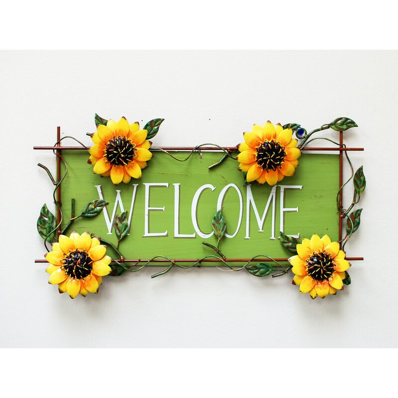 Wayfair Attraction Design Home Sunflower Welcome Sign