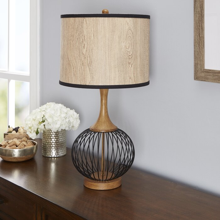 Bungalow rose rishi 18 table lamp with metal wire cage and faux rishi 18 table lamp with metal wire cage and faux wood shade greentooth Images