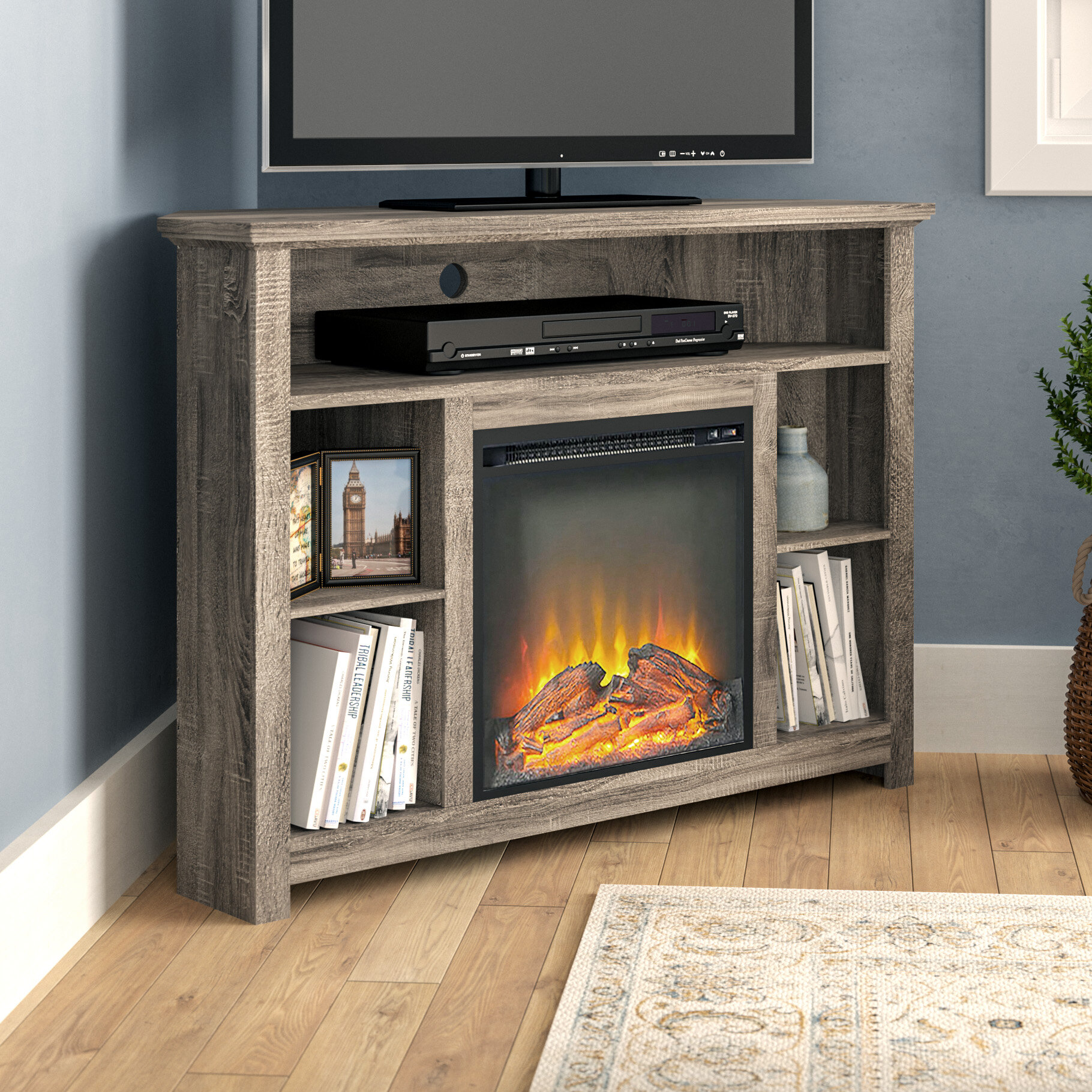 Swell Senecaville Corner Tv Stand For Tvs Up To 48 With Electric Fireplace Interior Design Ideas Gentotthenellocom