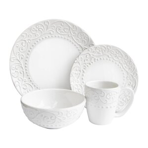 yaelle leaf round 16 piece dinnerware set service for 4 - White Dinnerware Sets