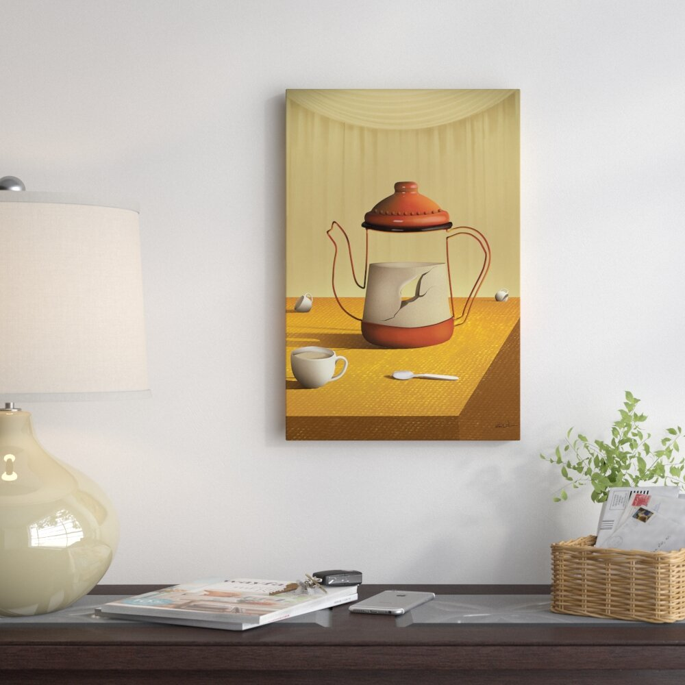 East Urban Home Teapot on Table Graphic Art on Wrapped Canvas   Wayfair
