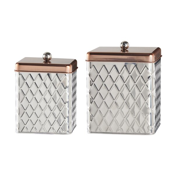 Square Kitchen Canisters | Global Amici Square Diamond 2 Piece Kitchen Canister Set Reviews