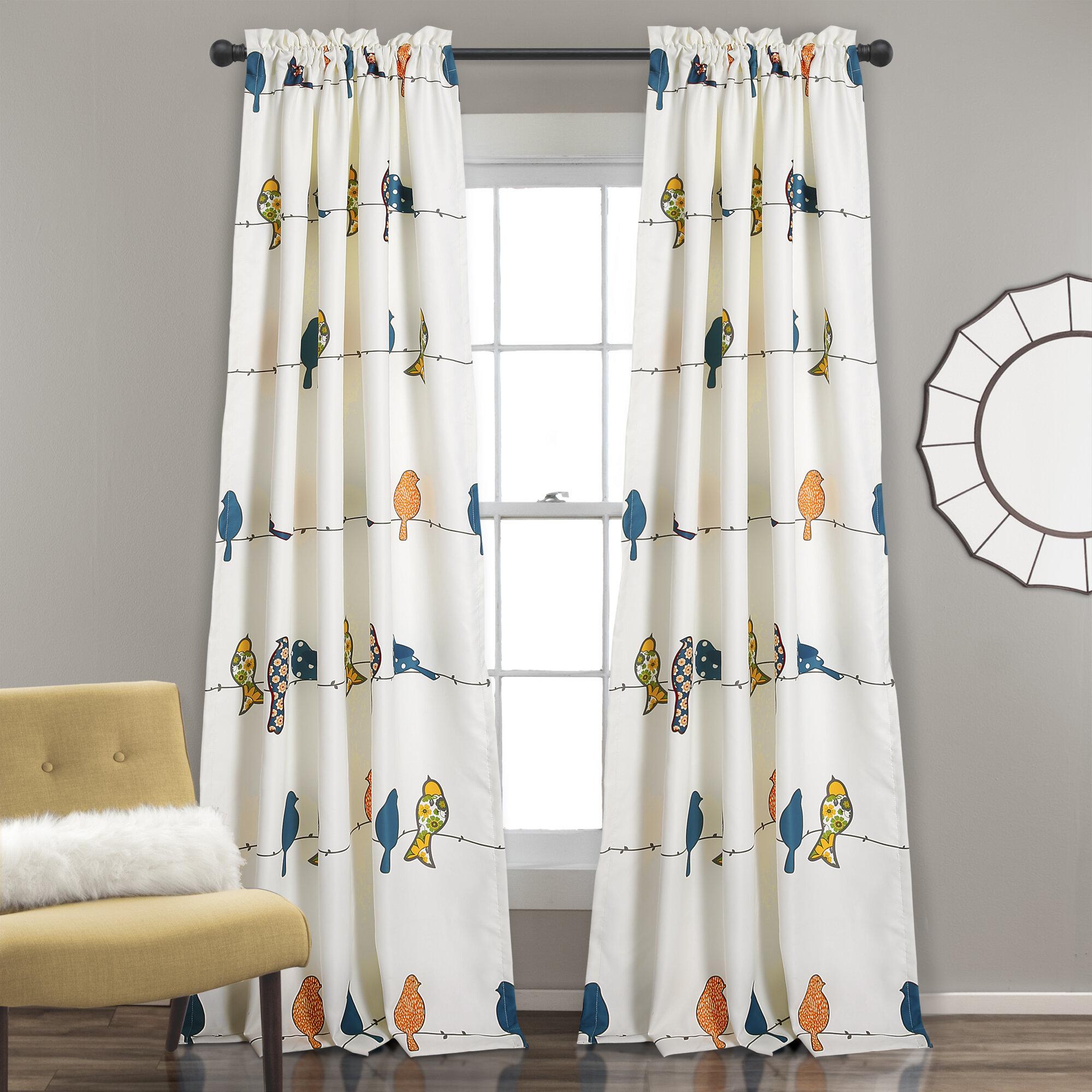August Grove Recio Wildlife Room Darkening Thermal Rod Pocket Curtain Panels Reviews