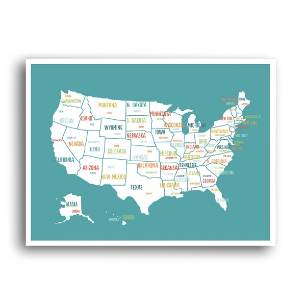 KindredSolCollective \'USA Travel Map\' Graphic Art on Paper in ...