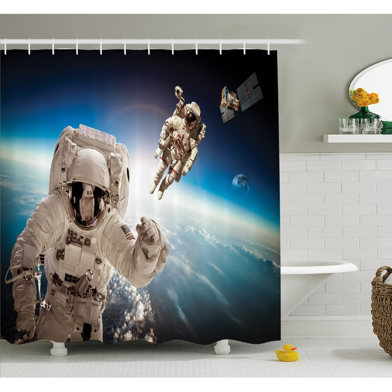 Outer Space Cosmonaut Crew In The Universe Astronomy Atmosphere Astral Journey Image Shower Curtain Set