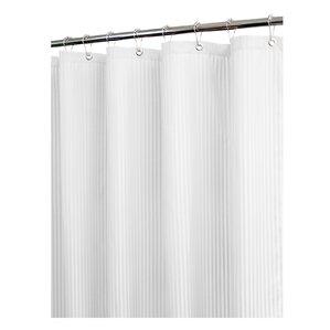 Solid Satin Stripe Shower Curtain