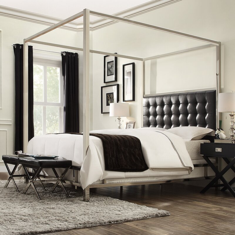Canopy Bed willa arlo interiors alek upholstered canopy bed & reviews | wayfair