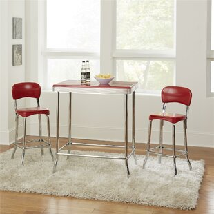 Bate Red Retro 3 Piece Dining Set & Retro Kitchen Table And Chairs | Wayfair