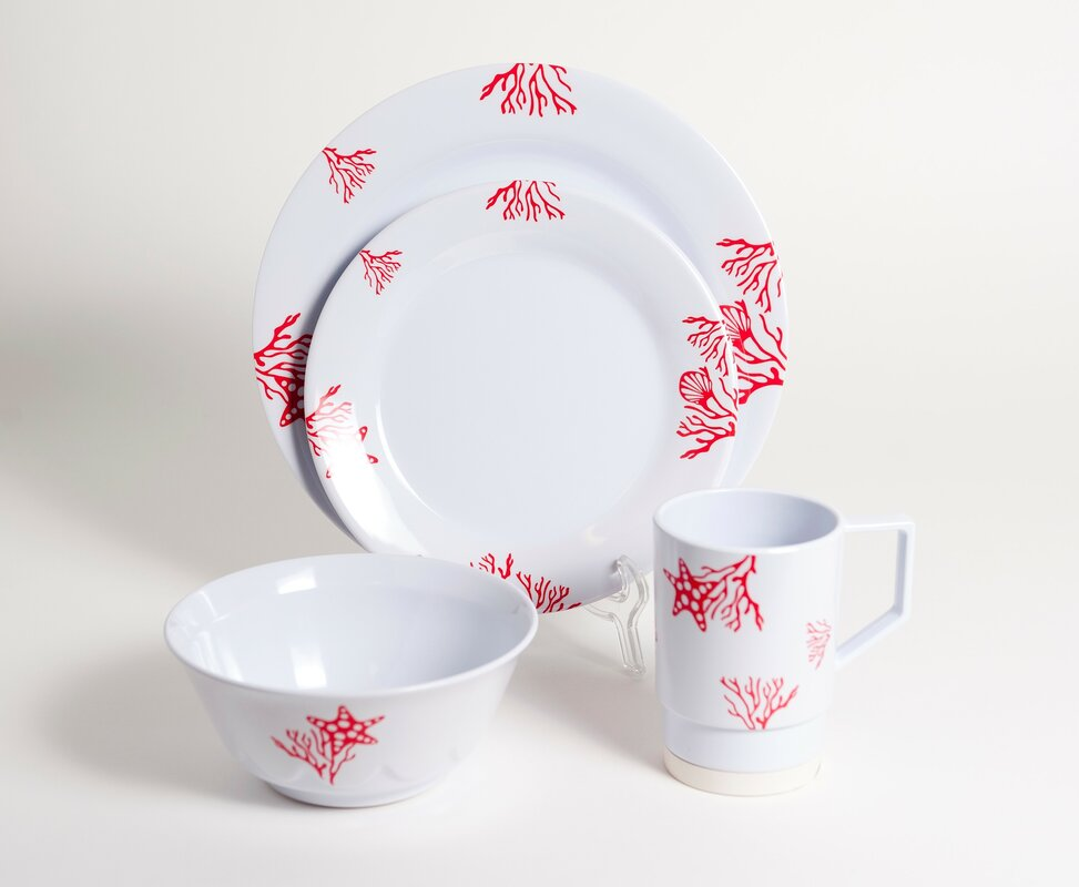 Decorated Coral Melamine 24 Piece Dinnerware Set Service for 6 & Galleyware Company Decorated Coral Melamine 24 Piece Dinnerware Set ...