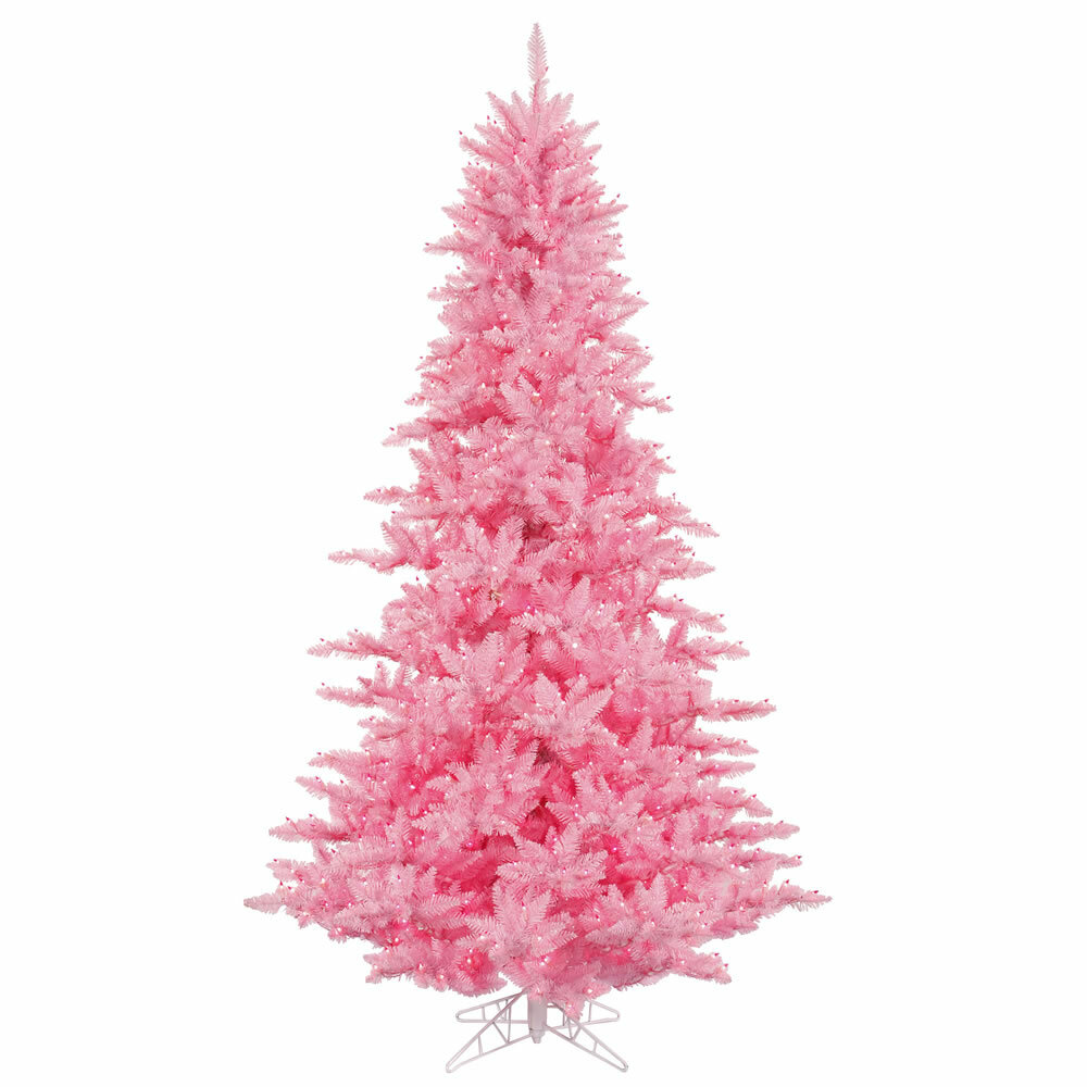 3 Pink Fir Artificial Christmas Tree With 100 Lights Stand