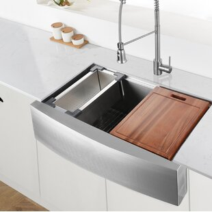 Quickview Ruvati Verona Workstation 33 L X 22 W Double Basin Farmhouse Kitchen Sink