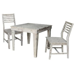 Gallaway 3 Piece Solid Wood Dining Set