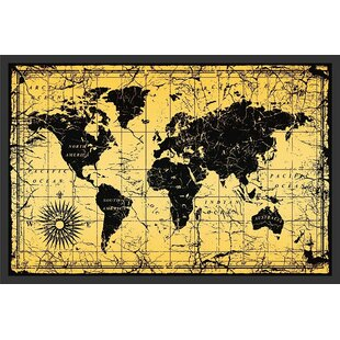 Antique pictures wayfair world map antique vintage old style framed graphic art publicscrutiny Images