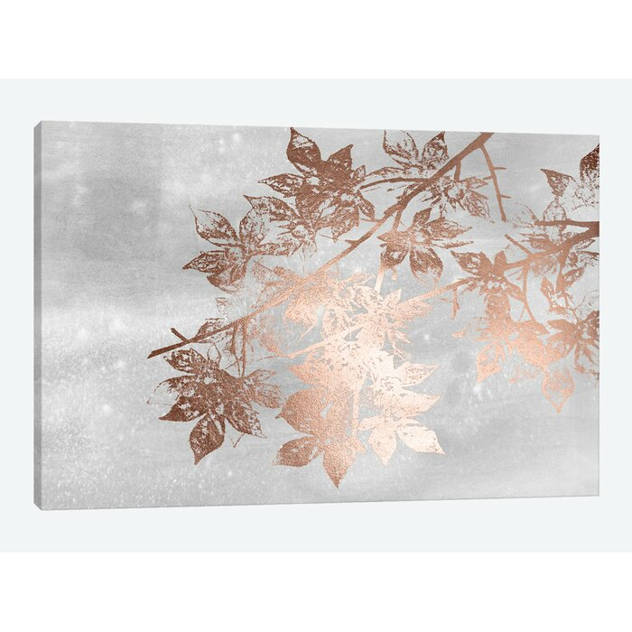 'Rose Gold Foil Maple on Gray Wash II' Graphic Art Print on Wrapped Canvas