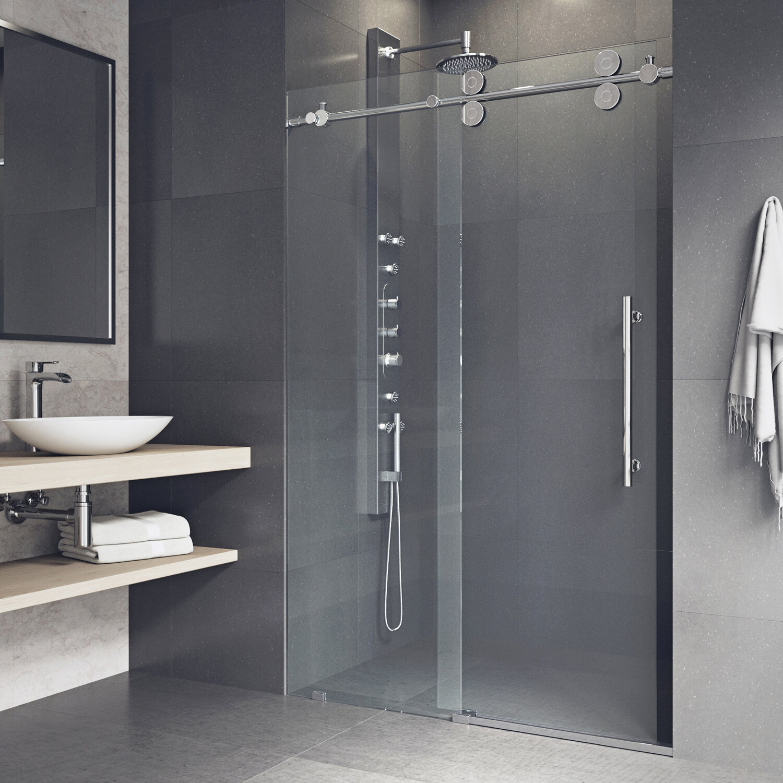 . Elan 52  x 74  Single Sliding Frameless Shower Door