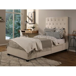 Ariane Twin Upholstered Storage Metal Panel Bed by Darby Home Co