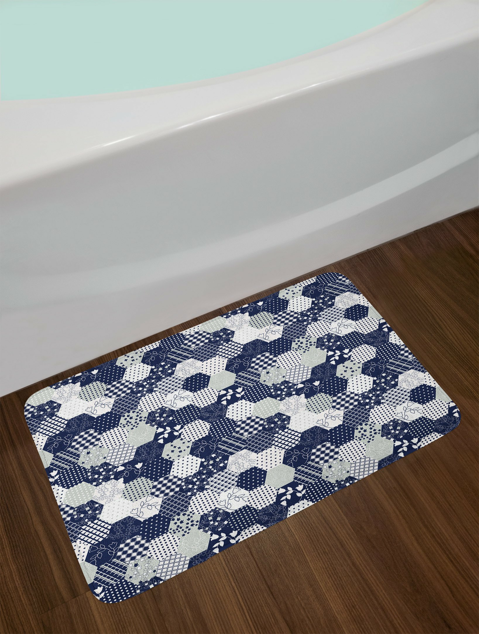 East Urban Home Octagon Navy And White Navy Blue Bath Rug Wayfair