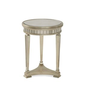 Roehl Mirrored Round End Table In Antique Silver