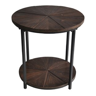 Gallien Round Metal And Rustic Wood End Table