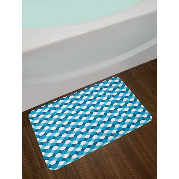 Horizontal Blue And White Bath Rug