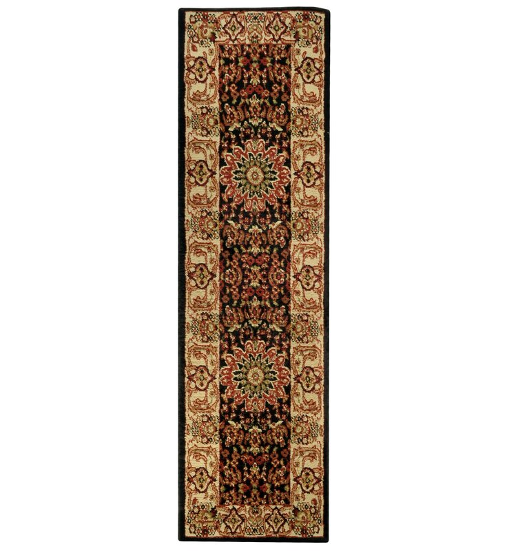 Wotring Medallion Traditional Black Ivory Area Rug