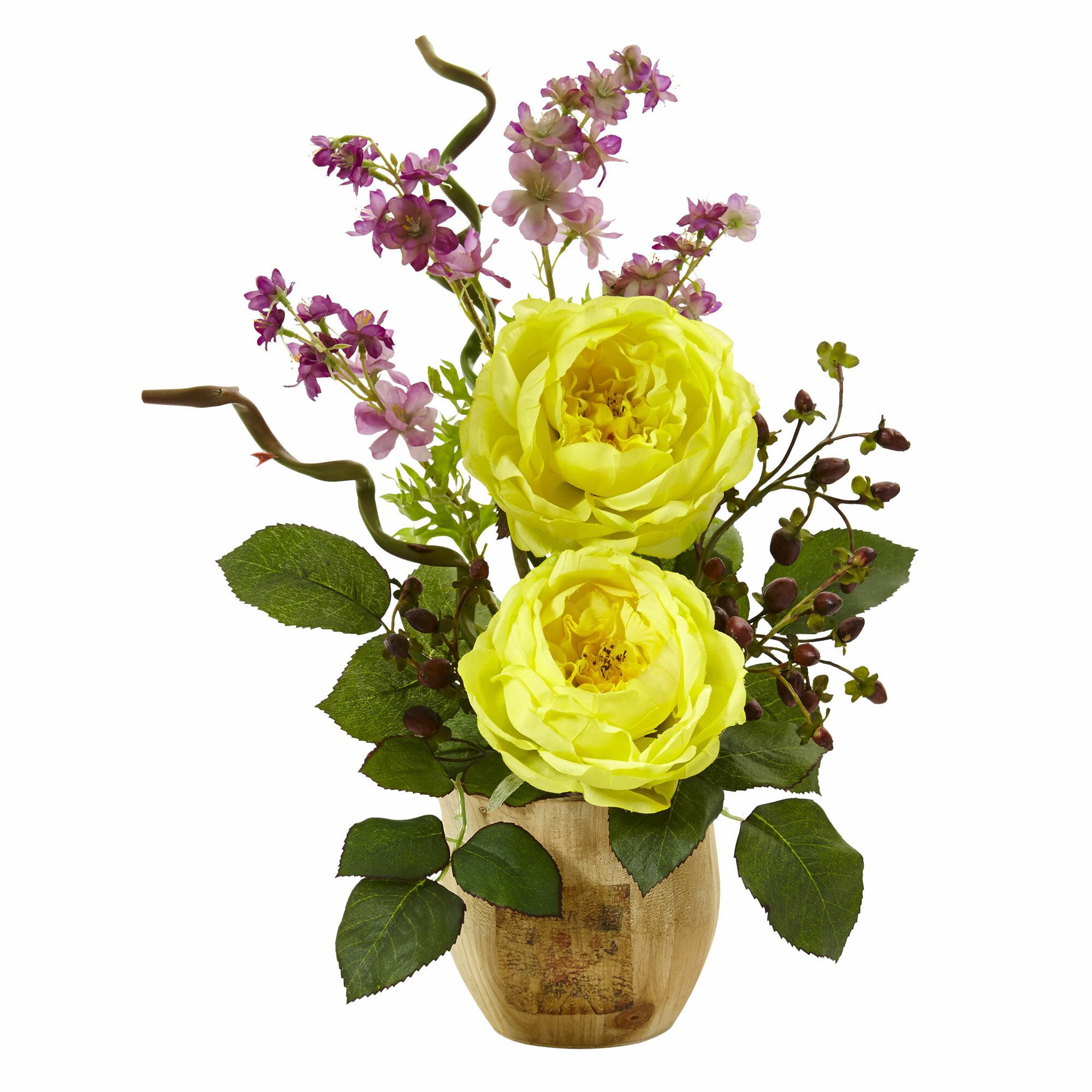 Nearly Natural Rosedancing Daisy Floral Arrangement In Pot Wayfair