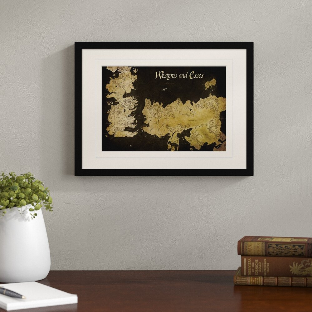 image regarding Free Printable Map of Westeros identified as Recreation of Thrones Westeros and Essos Antique Map Impression Artwork Print
